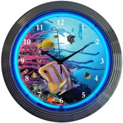 "NEON AQUARIUM BLOWN RING CLOCK 15"" x 15"" x 3"""