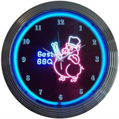 "NEON BBQ PIG BLOWN RING CLOCK 15"" x 15"" x 3"""