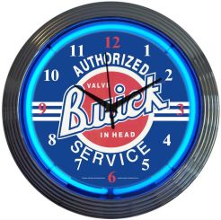 "NEON GM BUICK SERVICE BLOWN RING CLOCK 15"" x 15"" x 3"""