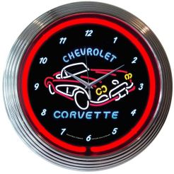 "NEON CORVETTE C1 BLOWN RING CLOCK 15"" x 15"" x 3"""