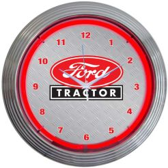 "NEON FORD TRACTOR BLOWN RING CLOCK 15"" x 15"" x 3"""