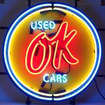 CHEVY VINTAGE OK USED CARS NEON SIGN 25 x 25 METAL GRID FINISH
