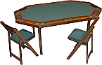 Kestell Deluxe 10-Player Green Ranch Oak Folding-Leg Poker Table