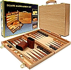 Deluxe Wooden Convenient Fold Backgammon Set