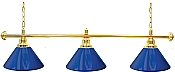 Premium 60 Inch 3 Shade Billiard lamp, s Blue and Gold gameroom lamps
