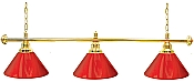 Premium 60 Inch 3 Shade Billiard lamp, s Red and Gold gameroom lamps