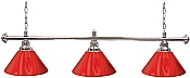 Premium 60 Inch 3 Shade Billiard lamp, s Red and Silver gameroom lamps