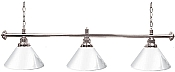 Premium 60 Inch 3 Shade Billiard lamp, s White and Silver gameroom lamps