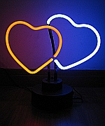NEON DOUBLE HEARTS HANGWALL SCULPTURE 9