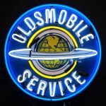 Oldsmobile Service Neon Sign With Silkscreen Backing 24 X 24 X 4budweiser neon sign